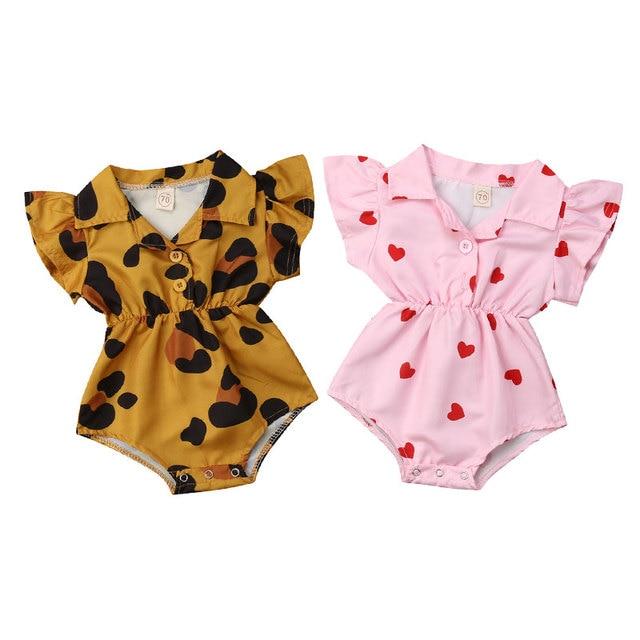 קיץ תינוקות יילוד תינוקת בגדי נמר לב ראפלס בייבי בנות Rompers האהבה יום לבגדי הקיץ