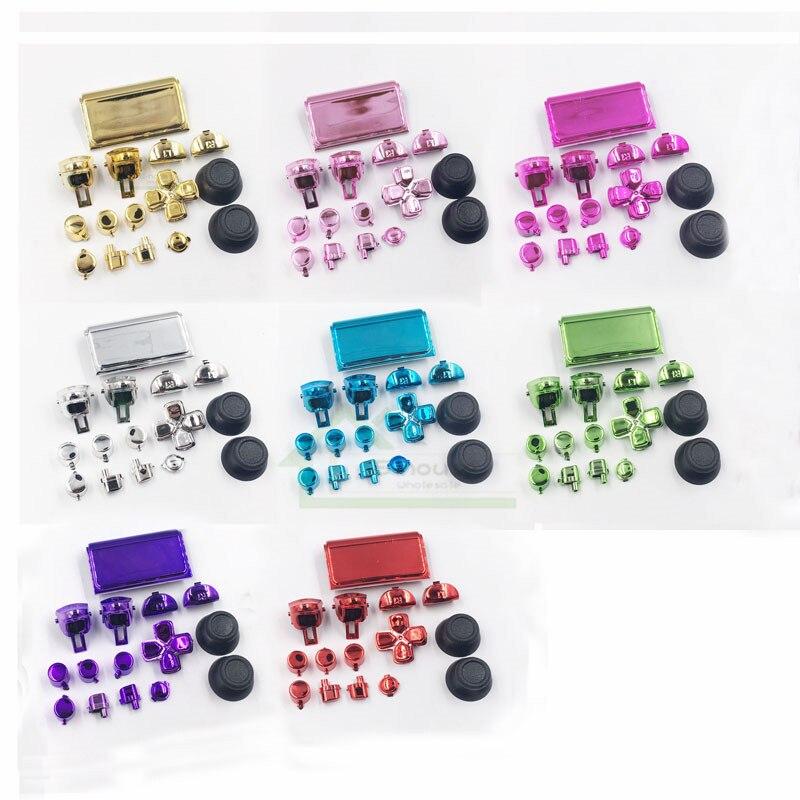 30 set Chrome Buttons Kit for PS4 Pro controller L1 R1 L2 R2 Thumbstick cap replacement