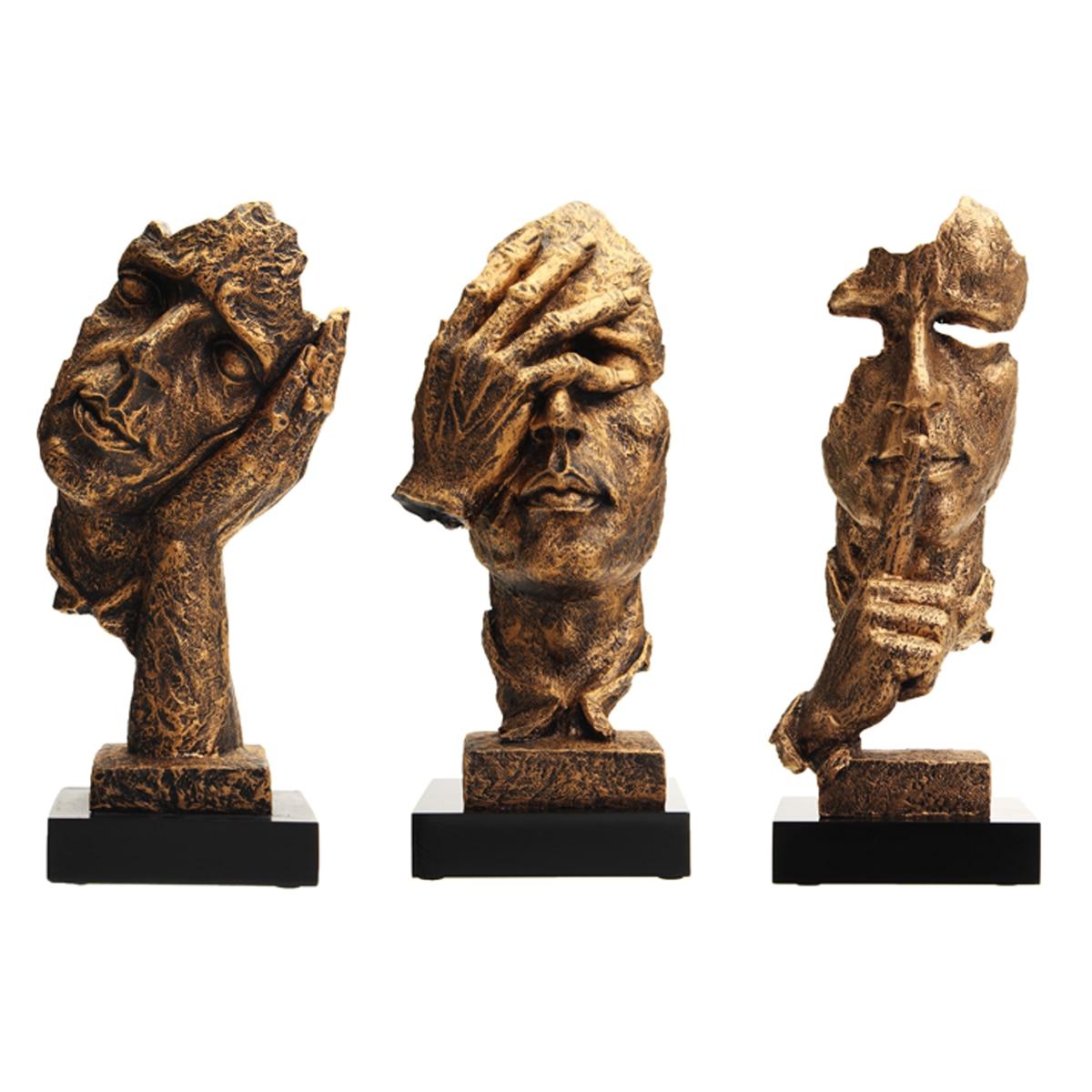 3 Styles Creative-Salon Art Décor Statue Silence Penseur Sculpture Résine Artisanat Vintage Ornements De Bureau Décor Œuvre