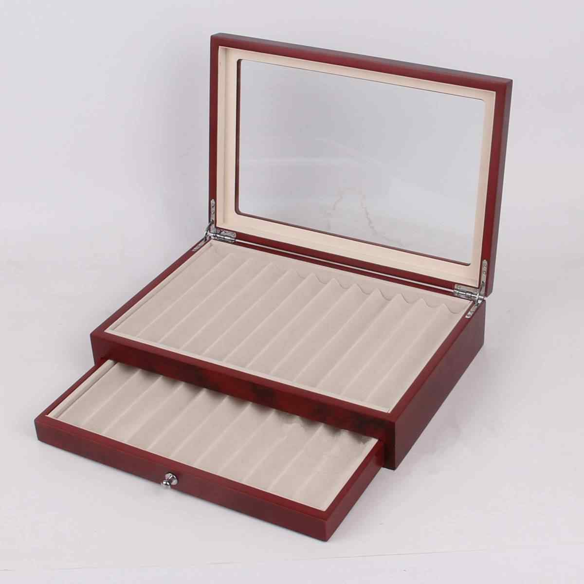78 Pen Display Box Wood Pen Display Case Fountain Pen Storage Box Red Promotion