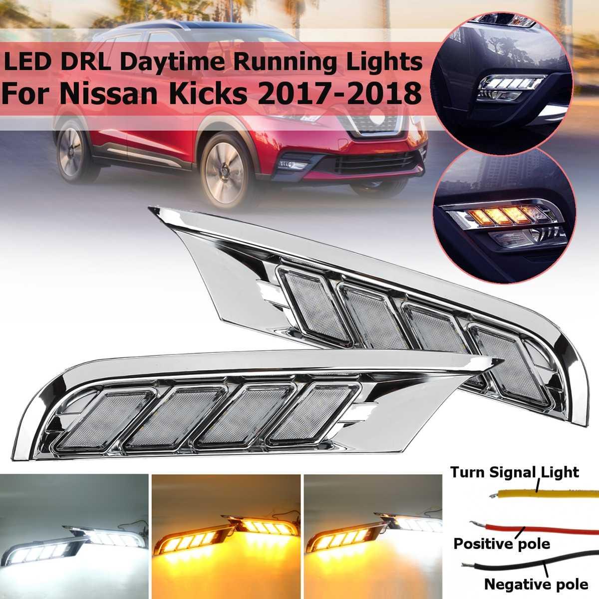 1pair Diy Bumper 12v Led Drl For Nissan Kicks 2017 2018 Fog Light