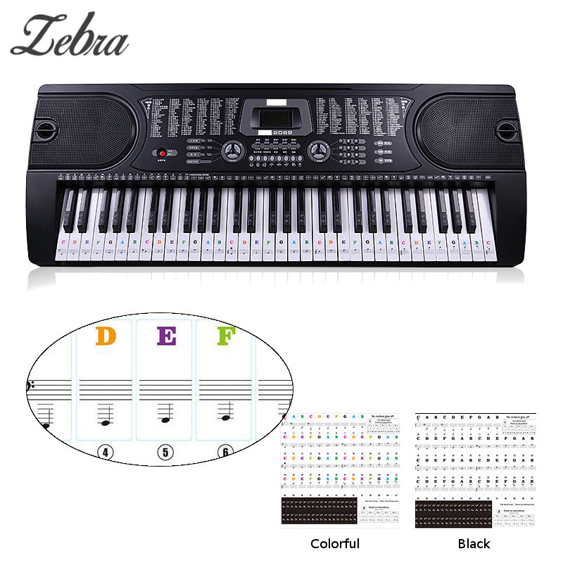 US $2 02 |Zebra 49 54 61 88 Keys Electronic Piano Keyboard Sound Name  Stickers Key Sticker Piano Stave Music Decal Label Note Sticker-in Piano  from