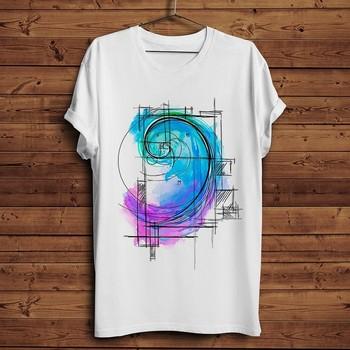 watercolor Fibonacci sequence funny math art t shirt men 2019 summer new white casual homme cool geek tshirt