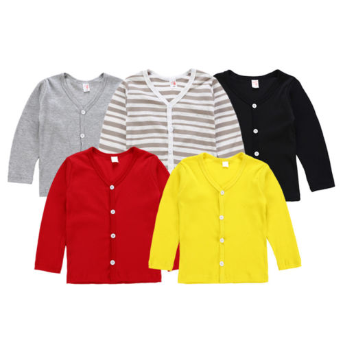 Casual Kids Baby Boy Girl Knitted Sweater Cardigan Coat Long Sleeve Tops Outwear