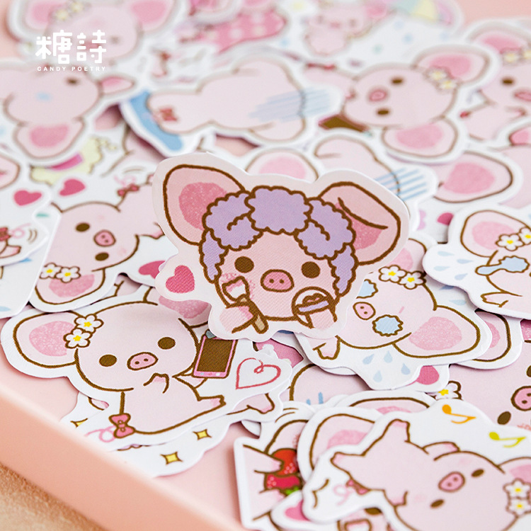 45Pcs Stickers Pack Pink Piggy Sticker Cute Stationery Decorate DIY Bullet Journal Diary Planner Scrapbooking
