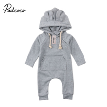 Pudcoco Cute Kids Baby Boy Girl 3D Ear Hooded Romper Infant Causal Pocket Romper Jumpsuit Clothes Sweater Outfit 0-24M