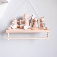 Nordic Bedroom Wall Shelf Wood Beads Double Layer Shelf Home Decor Kids Room Wall Decoration Photography Props