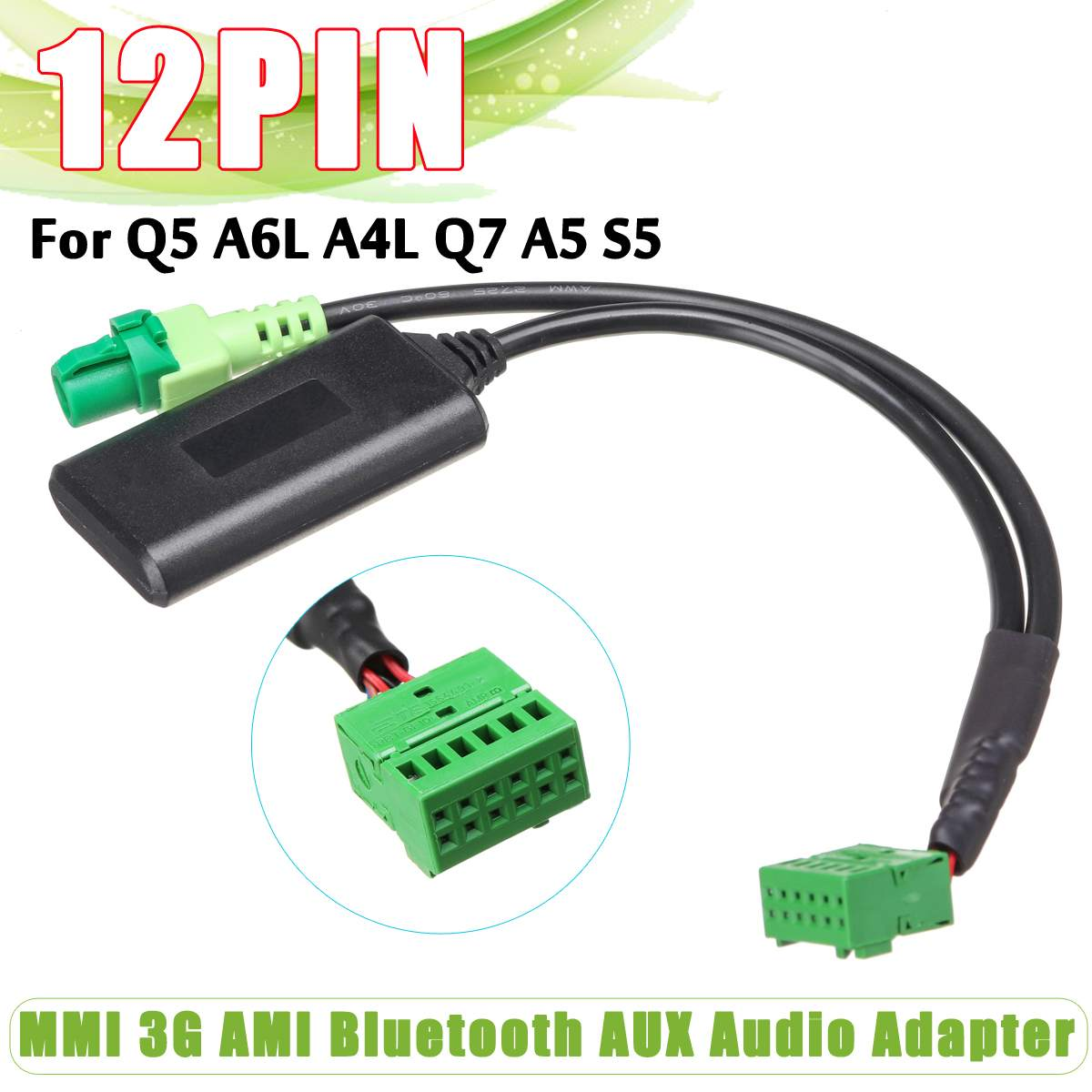 Car MMI 3G AMI Wireless Bluetooth AUX Audio Adapter Cable MMI Socket Interface Audio Input For Audi Q5 A6L A4L Q7 A5 S5 For VW