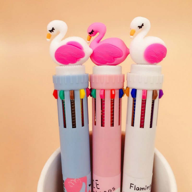1PCS 0.5MM 10 Color Drawing Pen Kids Flamingo Drawing Toy Writing Painting Tools  Arts And Crafts For Kids Student Random Color