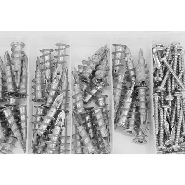 Kit de vis auto taraudeuses pour cloisons sèches en alliage de Zinc, 100 pièces, 13x41mm