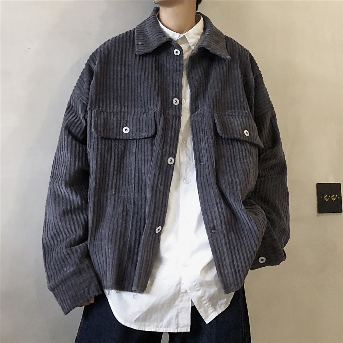 2019 Men's Corduroy Fabric Coats Streetwear Brand Bomber Jackets Fashion Outerwear Grey/red/khaki Color Windbreaker Size M-XL