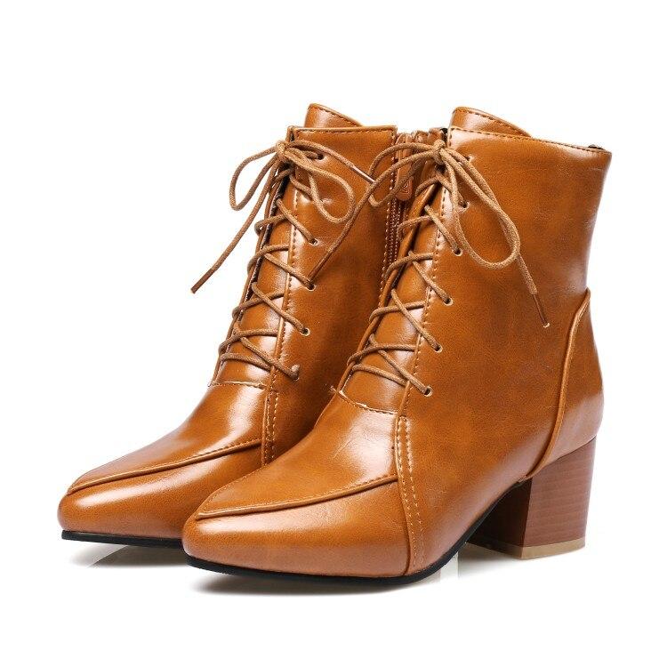 Botas Puntiagudo Plus Primavera Zapatos Pie otoño Tacón Tamaño Inkle c9 22 atado Medio De Dedo Del 45 Mujer Xianyiduo Grande Amarillo 40 7wpqZqP