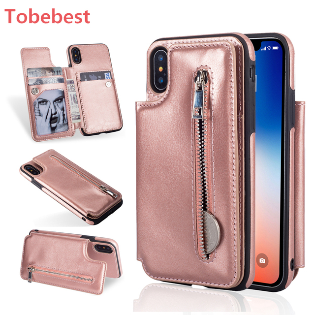 46909d1f96179a Zipper Phone Cases For iPhone X XS MAX XR Multi Card Holders Leather Wallet  Case Cover