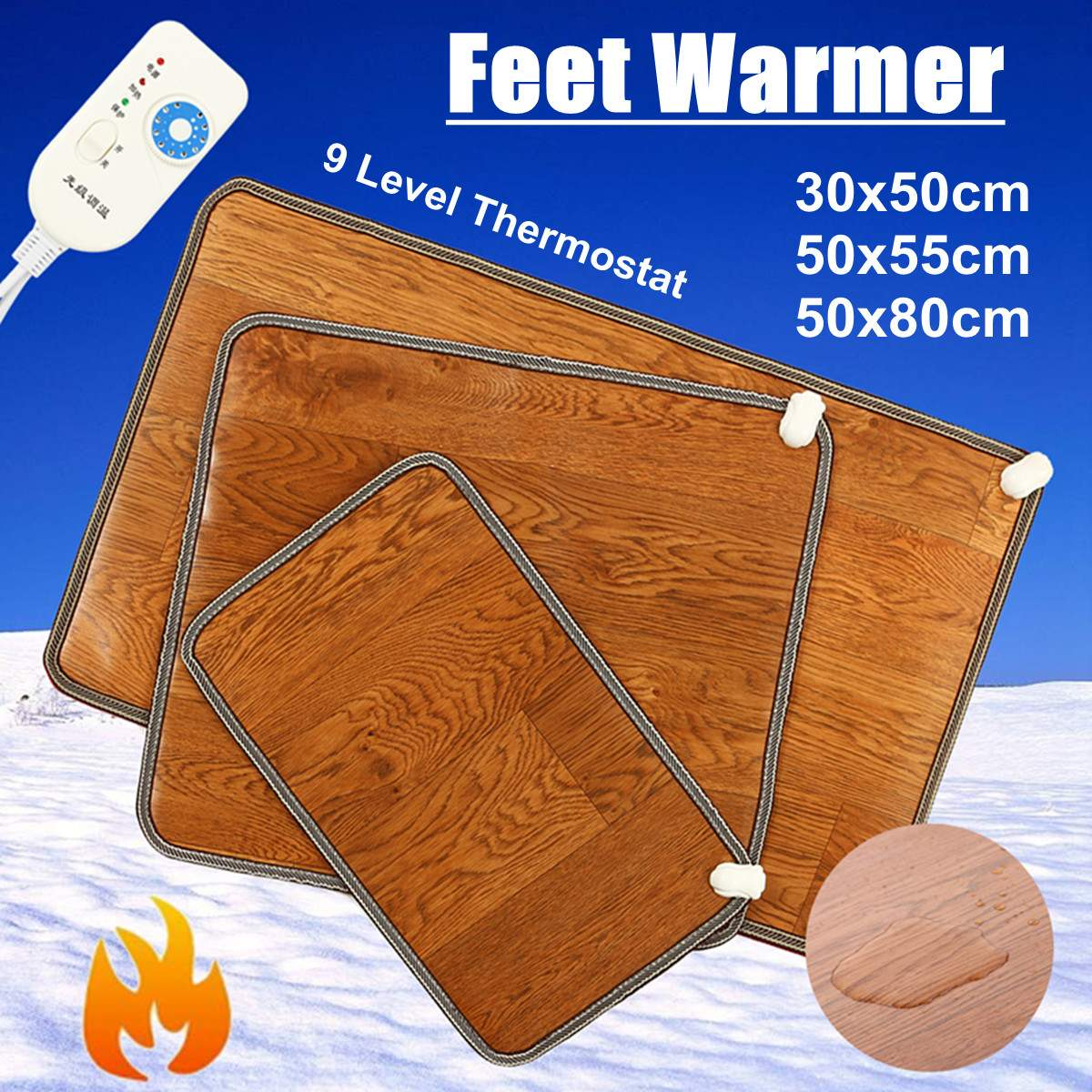 Winter 3 Sizes Leather Heating Foot Mat Warmer Electric Heating Pads Feet Leg Warmer Thermostat Home Office Warming Supplies