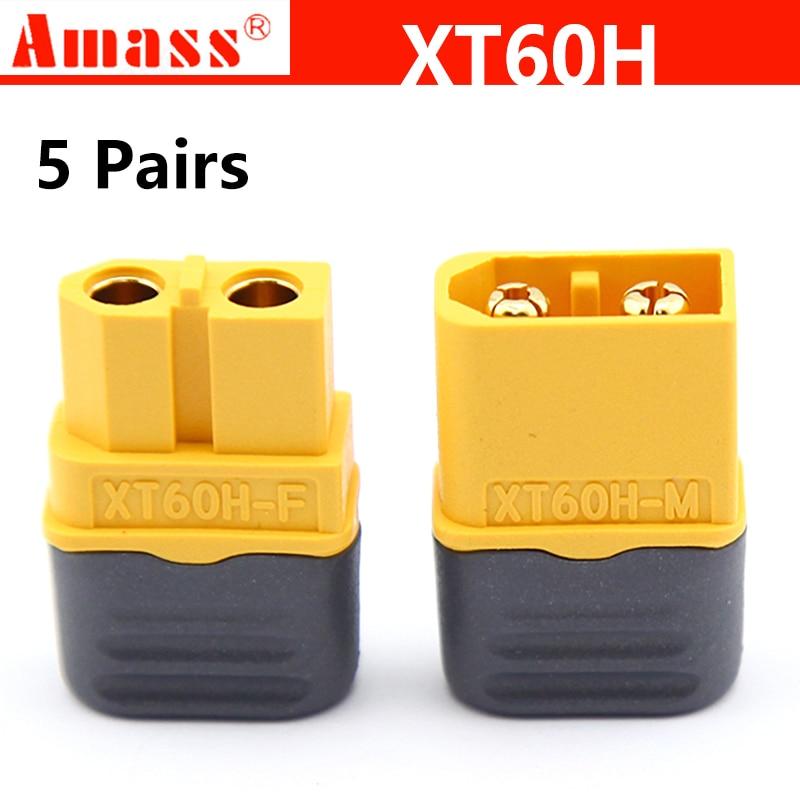 Amass XT60H XT-60H connector 10pcs With Sheath Housing Female / male XT60 plug for RC Lipo Battery(5 Pair )(China)