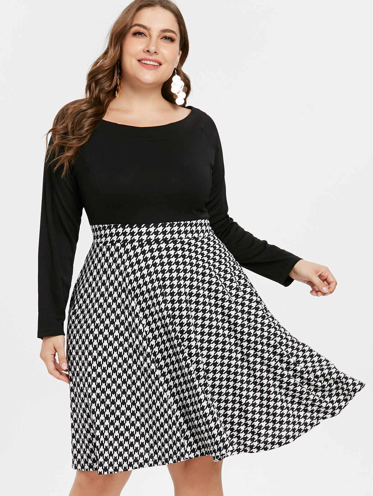 37b9466bbe Wipalo Houndstooth Pattern Plus Size Long Sleeve Vintage Dresses Fit And  Flare A Line Knee Length