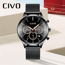 CIVO Men Military Sports Watches Waterproof Chronograph Date Watches For Men Stainless Steel Mesh Sports Quartz Wristwatch Gents цена