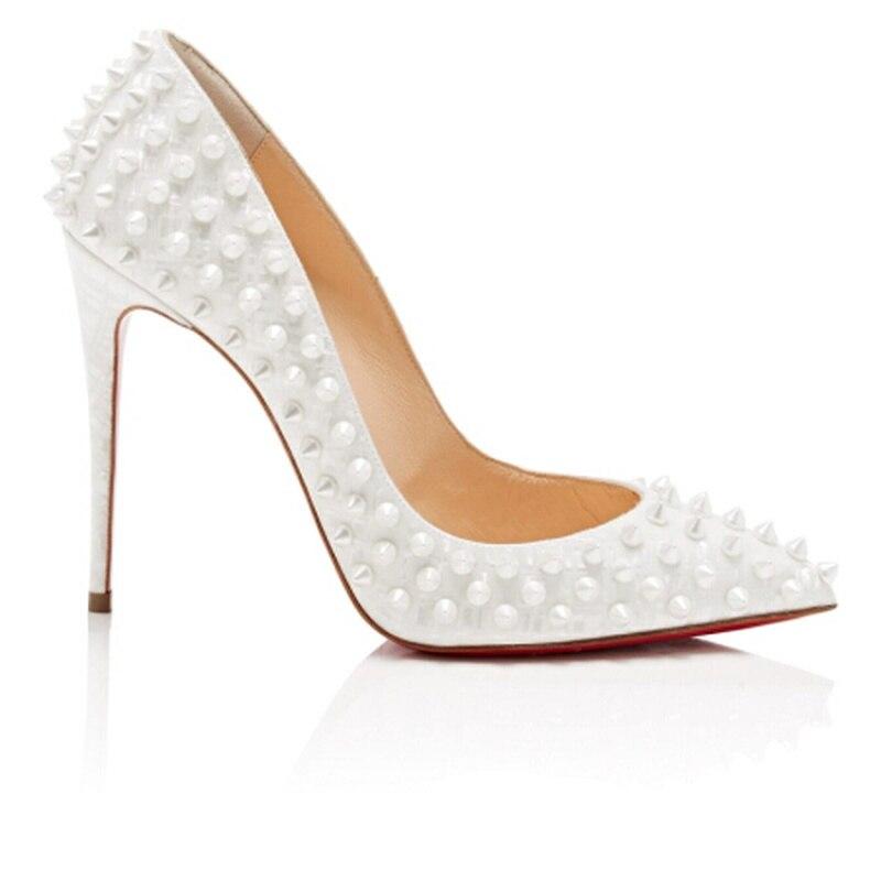 Talons Femmes Rivet Style Pompes Pointues Bracelet Cuir Hauts Véritable Têtes other En Color Cm Pour Mode De Chaussures 10 Black Sandales wgvnX6