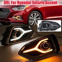 Pair Daytime Running Light LED DRL White Yellow Daytime Running Light With Turn Signal Lamp For Hyundai Solaris Accent 2017 2019