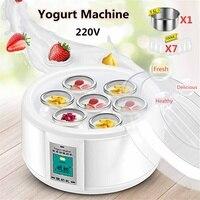 1.5L автоматический изготовитель йогурта с 7 баночки DIY инструмент Электрический йогурт чайник йогурт 15 Вт кухонная техника лайнер нержавеющ...