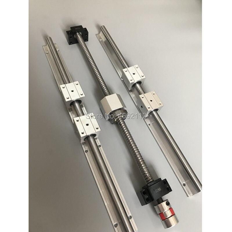 SBR 16 rail de guidage linéaire 6 set SBR16-400/600/1000mm + 3 pcs ensemble de vis à billes SFU1605-450/650/1050mm + BK/BF12 pièces de CNC
