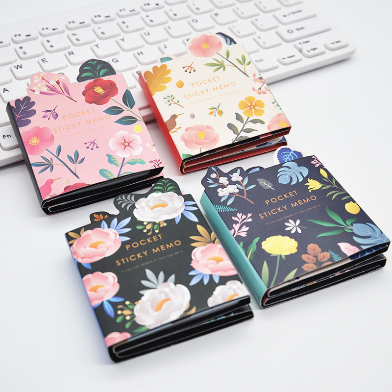 120 Pages Plant Flower 6 Folding Memo Pad N Times Sticky Notes Memo Notepad Bookmark Gift Stationery Notes Multi Folding Writing