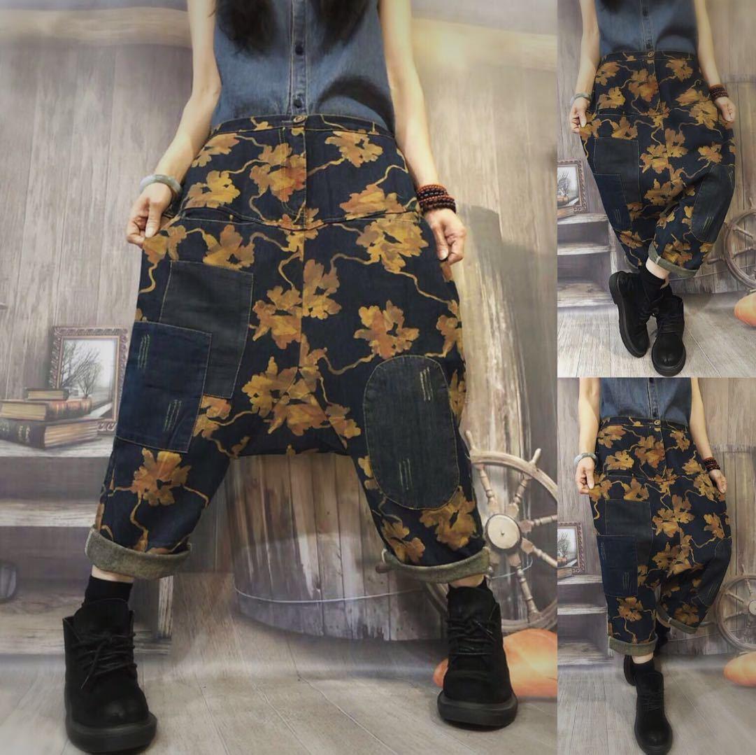 feeb3a66ad Baggy Low Crotch Denim Pants Women Printed Wide Leg jeans hip hop Oversized  cowboy Harem Trousers ...