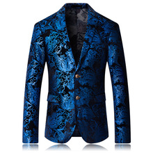 Luogen Stamping Floral Suit Wedding Slim Formal Fit Casual Men Blazer Casaco Masculino Blusa Masculina Veste Homme Costume
