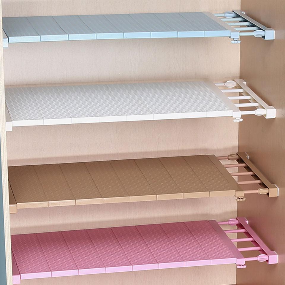 Adjustable Closet Organizer Storage Shelf Wall Mounted DIY Wardrobe/Clothes/Kitchen Storage Holders Racks Plastic Layer/Dividers