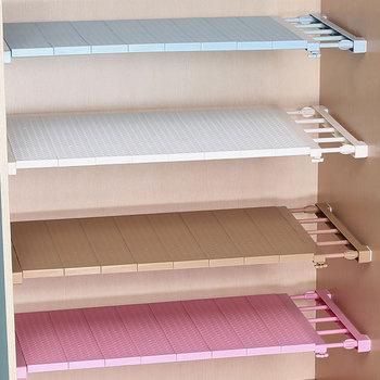 цена на Adjustable Closet Organizer Storage Shelf Wall Mounted DIY Wardrobe/Clothes/Kitchen Storage Holders Racks Plastic Layer/Dividers