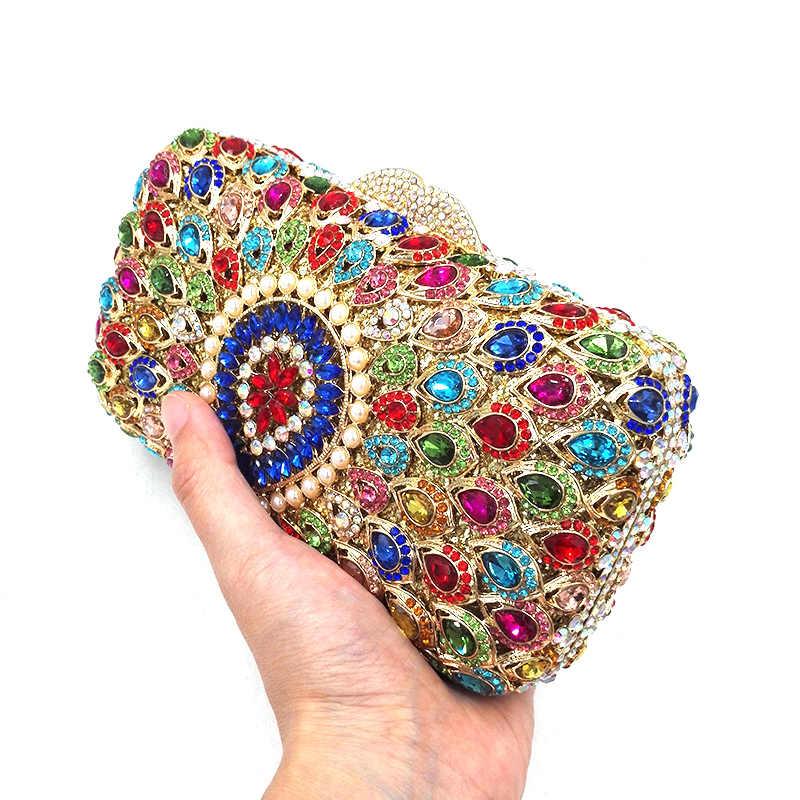 Najnowszy torebka ślubna kobiety wieczorowa torebka imprezowa moda diamenty Nigeria ślub kryształowe sprzęgła pawie pióro kryształowa torba
