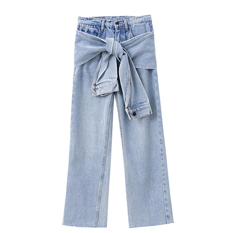 Streetwear Vaqueros Blue Las Nuevo Moda black La Los Alta Marea Ropa Cintura De Oc477 Shengpalae 2019 Primavera Pantalones Cremalleras Empalme Mujeres WgzBPF