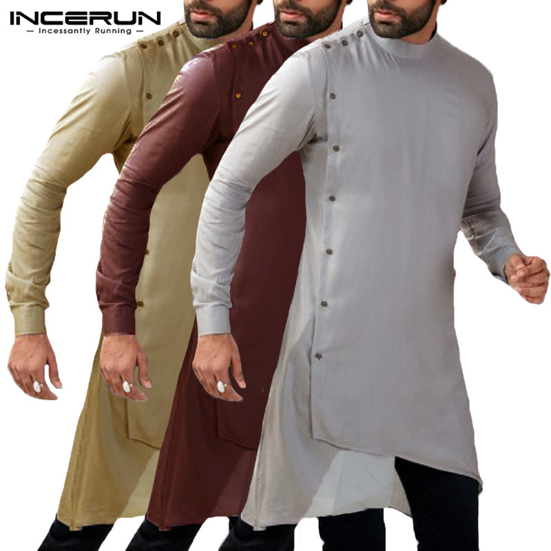 Streetwear Pathani Kurta Suits Indian Clothes Men Dress Shirts Long Sleeve Mandarin Islamic Clothing  Kaftan Vented Hem