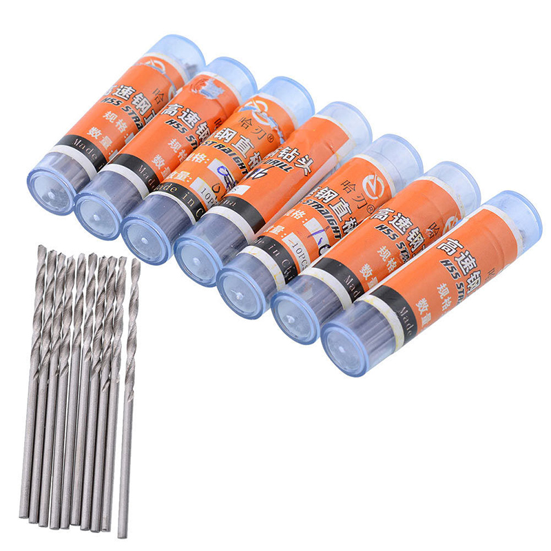 DWZ 10pcs Mini Micro High Speed Steel HSS Twist Drill Bits Set Home Drilling Tools