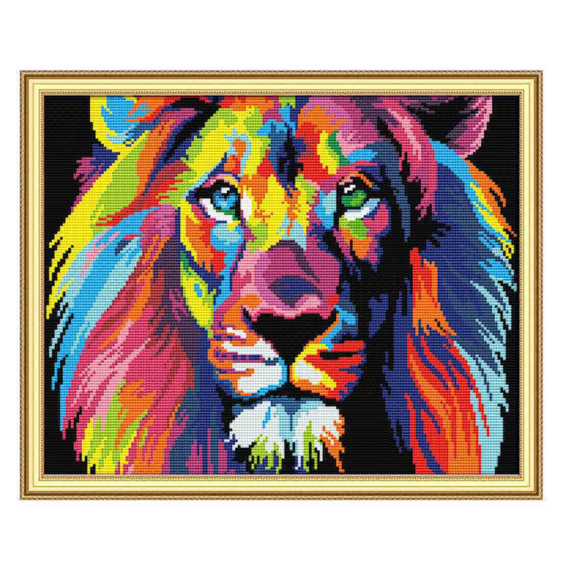 40 X 32cm 14CT 2 Strands Arts Crafts Printing Cross Stitch  DIY Decorative Cross-stitch Embroidery Without Frame Colored Lion