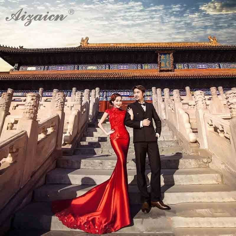 Spring Summer Red Satin Dress Cheongsam Modern Bride Qi Pao Women Traditional Chinese Wedding Dresses Gown Slim Mermaid Qipao