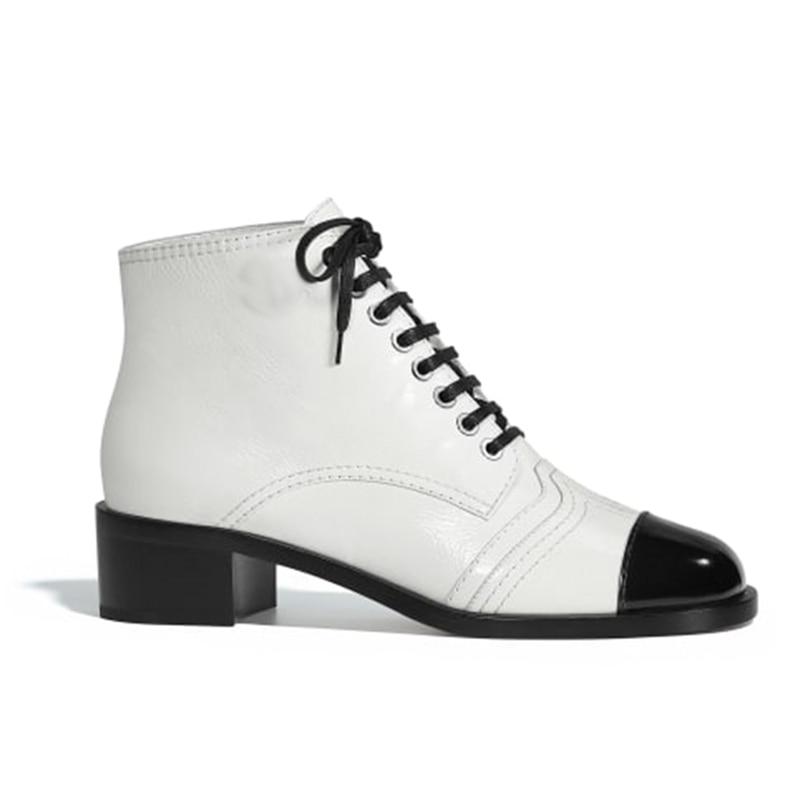 Vache Chaussures Verni Femmes Cheville De Bottes D'hiver Marque black Véritable Peau Luxe Cuir En Blanc White 8vwxfSnqAI