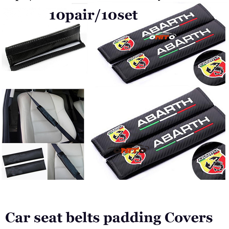 10set 10pair Auto safety Belts Carbon For Abarth logo for fiat Car seat belts padding protective