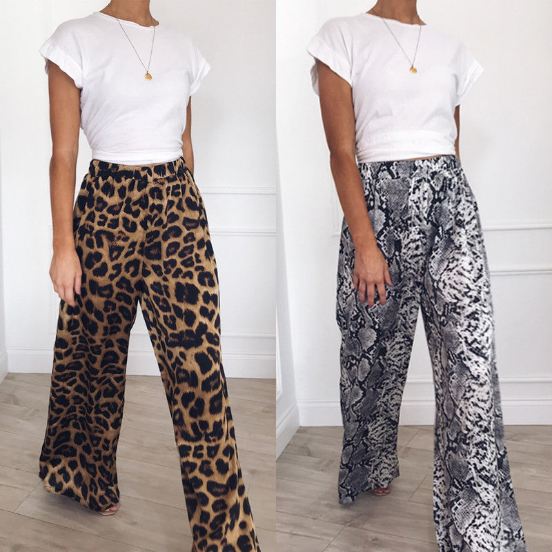 2019 Women's Leopard Print Pants Palazzo Casual Loose Wide Leg Pants Female Bohemian Loose Long Trousers Women Pants New
