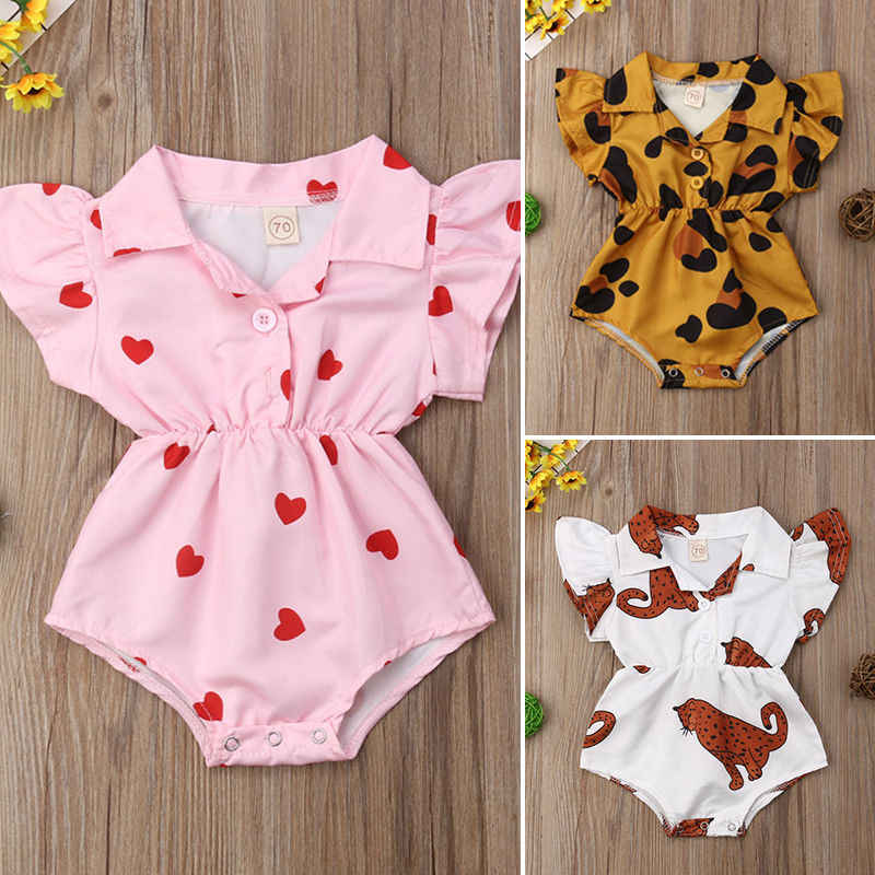 Floral Print Baby Clothes Button Up Collar Girl Flower Blouse Baby Rompers Jumpsuit Outfit  Summer Casual New Born Baby Clothes