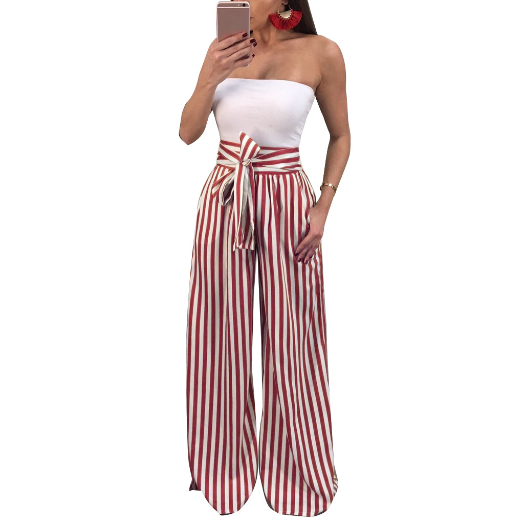 High Waisted   Wide     Leg     Pants   Women Trousers Autumn Elegant Black Casual Striped Bow Tie Drawstring Loose Palazzo   Pants