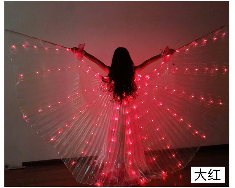Ruoru Girls Colored Belly Dance LED Wings White Rainbow Children Kids Led Isis Wings Bellydance Performance Dancing Accessories