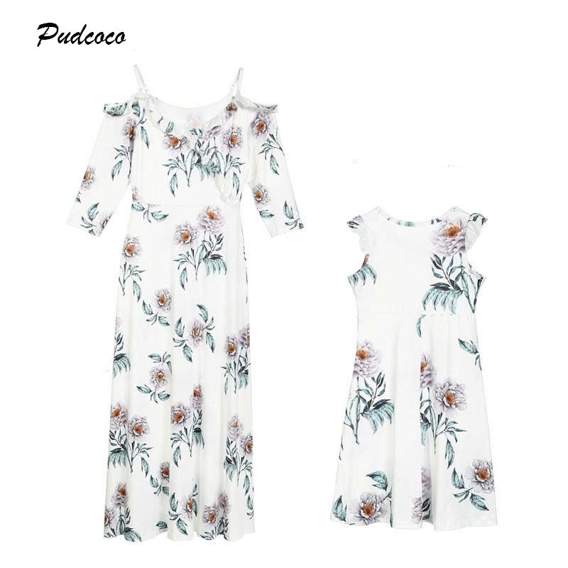 2019 Mother Kids Daughter Matching Floral Dress New Boho Wom