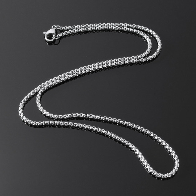 European Stainless Steel Necklace Chain Korean Style Simple Strand Box Chain 2x2