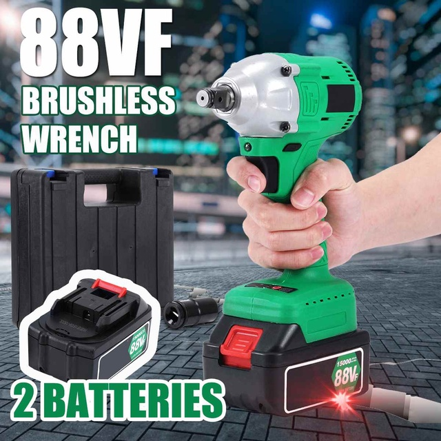 88vf 15000mah Brushless Impact Wrench High Torque 2 Li Ion Batteries Rechargable Cordless Electric With Led Lights