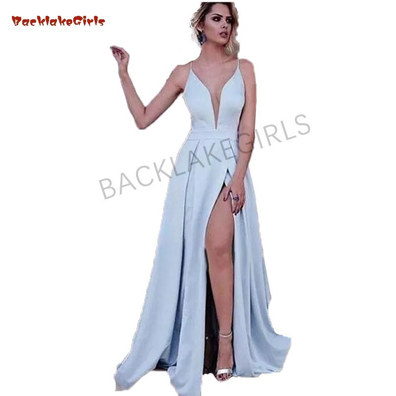 Graceful Satin Spaghetti Straps A-line   Prom     Dress   Sexy Light Blue Side Slit   Prom   Party   Dresses