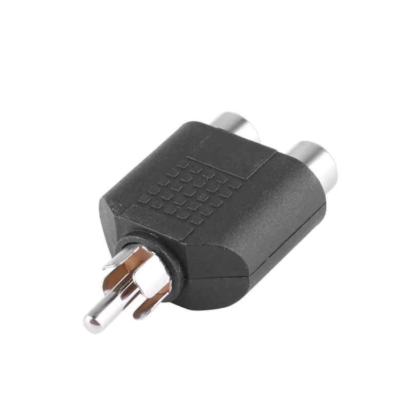 Alloyseed 2 Pcs RCA Y Splitter Audio Video AV Plug Converter 1 Male To 2 Perempuan Adaptor Kabel Konektor Tinggi adaptor Berkualitas