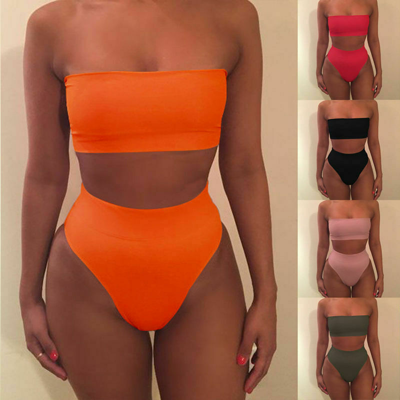 Sexy 2019 Summer Women Bikini Sets Strapless Bandeau Push Up Bra Swimsuit Solid Swimwear Bathing Sets Five Colors