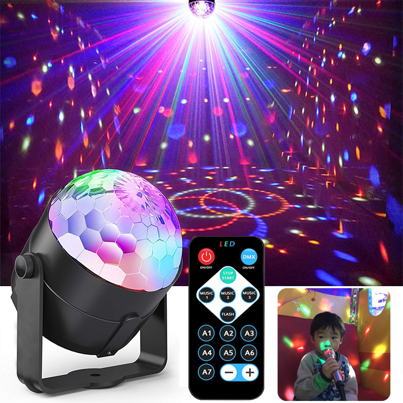 USB 5V Music Control Colorful Beam Disco Ball Stage Light Remote Control Dj Ktv Dmx Disco Light Christmas Projector Party Lights