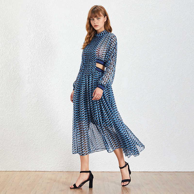 TWOTWINSTYLE בוהמי סגנון צווארון עומד קו נשים של שמלה ארוך שרוול הדפסת חלול את שמלות אופנה 2019 גאות חדשה